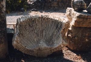Pila bautismal paleocristiano en Cafarnaún © Joaquim Pisa