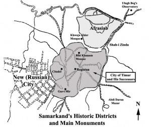 Plano del centro histórico de Samarcanda
